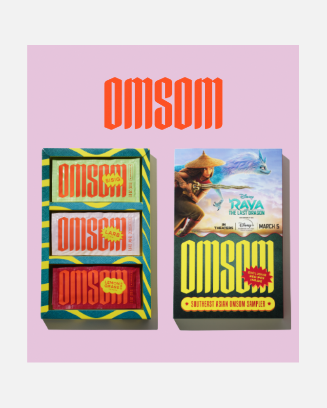 Free Shipping* on Omsom's Southeast Asian Sampler, celebrating Disney's Raya and the Last Dragon