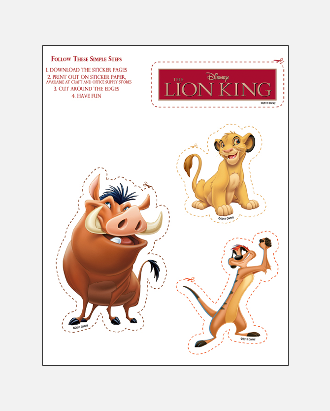 Lion King Printable Stickers
