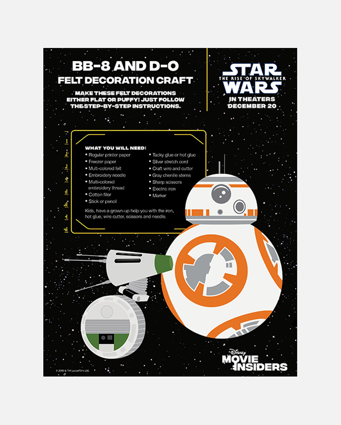 BB-8 and D-O Felt Decoration Printable Craft