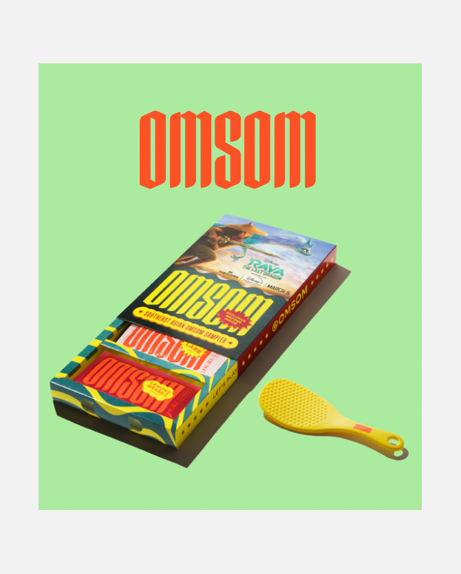 Free Rice Paddle* with purchase of Omsom's Southeast Asian Sampler, celebrating the all-new movie