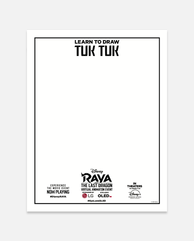 How-To-Draw Tuk Tuk Activity & Printable Stickers from Disney's Raya and the Last Dragon